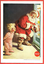 1959 COCA COLA Ad ~ Boy catches Santa Claus taking a Coke from the Refrigerator