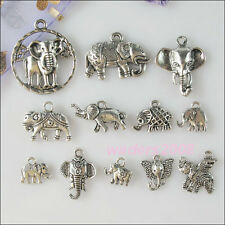 24Pcs Mixed Lots of Tibetan Silver Tone Elephants Charms Pendants