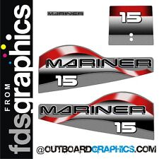 Mariner 15hp two stroke outboard engine decals/sticker kit
