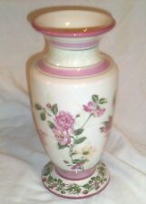 LAURA ASHLEY HOME FTD Vase CREAMY WHITE WITH PINK FLOWERS GREEN LEAVES