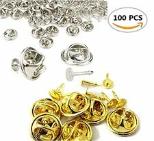 Pack of 100 Fireboomoon Tie Tacks Blank Pins with Clutch Back, Comfort Fit Metal