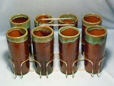 Eight Van Briggle Brown Tumblers With Carrier