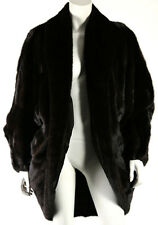 YVES SAINT LAURENT Vintage Brown Ranch Mink Fur Shawl Collar Cocoon Coat