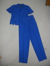 NWT Womens Pant Suit-SAG HARBOR-blue rayon blend flat front short sleeve-12 Tall