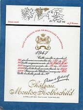 PAUILLAC 1EGCC ETIQUETTE CHATEAU MOUTON ROTHSCHILD 1947 75 CL DECOREE §14/07/16§