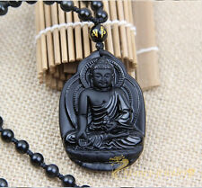 100% Natural Black Obsidian Hand-carved Lucky Buddha Amulet Pendant Necklace
