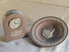 "A Wedgwood Jasper ware "" Small Dome Clock "" in Lilac, & Round Pin Tray, Superb"