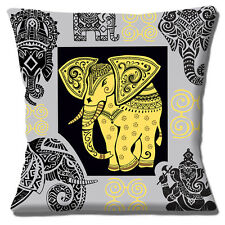 """INDIAN ELEPHANT HENNA DESIGN GREY TAUPE YELLOW BLACK  16"""" Pillow Cushion Cover"""
