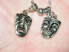 DRAMA ACTING Necklace Tragedy Comedy Masks Broadway Theater Faces Silver 23.5""