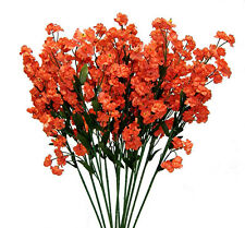 12 Baby's Breath ~ ORANGE  Gypsophila Silk Wedding Flowers Centerpieces Fillers