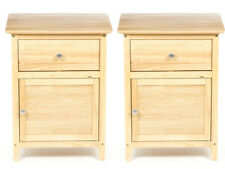 Pair Nightstand End Table Drawer Set of 2 Natural Solid Wood Furniture Bedroom