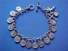 "STATIONS of the CROSS Religious ANGEL Saint Medal Charm Bracelet 8.5"" JESUS"