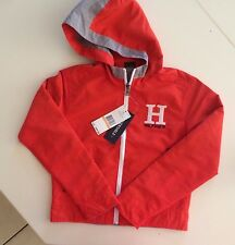 NWT $89.50  TOMMY HILFIGER REVERSIBLE BOYS HOODED WIND JACKET Orange/Gray  8/10
