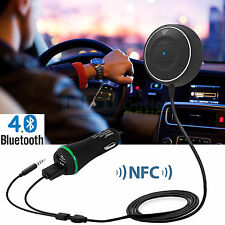 3.5mm AUX NFC Bluetooth Wireless Car Receiver Music Adapter Hands Free Speaker