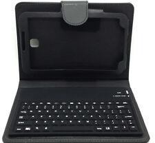 Negro De Cuero Teclado Bluetooth Folio Funda Protectora Samsung P3200 Galaxy Tab3 7.0