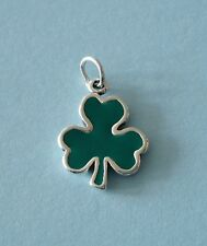 LP3946 Sterling Silver and Epoxy Green Shamrock Clover Charm