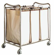 Laundry Sorter Cart 3-Bag Clothes Organizer Rolling Basket Heavy-Duty DecoBros