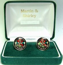 1967 Sixpence cufflinks from real coins in Black & Colours & Gold