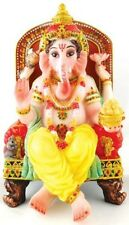 Lord GANESH Ganesha STATUE Figurine Hindu God INDIA Puja Worship LOTUS Elephant