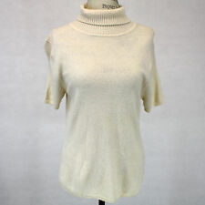 Wendy B 2-Ply 100% Cashmere Sweater Ivory Turtleneck Short Sleeves XL