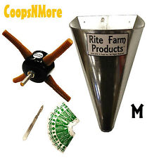 *COMBO* L4 RITE FARM DRILL CHICKEN PLUCKER MEDIUM KILL CONE 10 BLADES & SCALPEL
