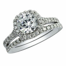 2.20Ct Diamond Engagement Rings 14kt White Gold Band Set Round VVS1/D 3008