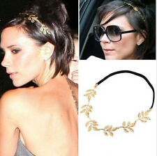 Celebrity Girls Charm Gold Plated Metal Leaf Olive Branch Hair Band Elastic Rope