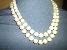 VINTAGE REAL MOTHER OF PEARL BEADS 2 STRAND GRADUATED SIZE ROSE CLASP 20 INCH