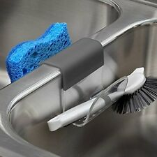Spectrum Cora Sink Saddle Holder for Sponges, Scrub Brushes, Soap Gray & Clear