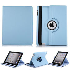 360 Rotating PU Leather Flip Kickstand Case For Apple iPad 2 3 4 - Light Blue