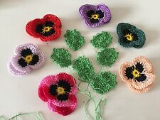 6 new  crochet pansies 3D flowers and  6 leaves  Embellishment 100% cotton