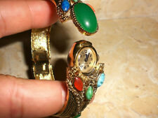 Modernist Le Monde 17 Jewel Clamper Watch in Gold Filigree with Colorful Stones