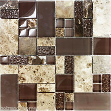 10SF Brown Pattern Imperial Marble Stone Glass Mosaic Tile Kitchen Backsplash