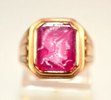 MENS ANTIQUE ART DECO GOLD FILLED RING RED CARVED INTAGLIO GLADIATOR SIZE 7.5