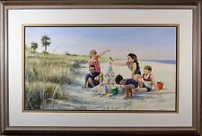 "Roger Bansemer Original Watercolor ""Children's Sandcastle, Florida Beach"", FINE!"