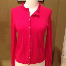 J. Crew Hot Pink Cashmere Ruffle Neck Rhinestone Buttons Cardigan Sweater S