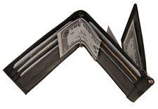 Mens Black Cow Leather Trifold Z Double Money Clip Wallet 9 card Front pocket