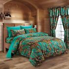 7 PC TEAL CAMO COMFORTER AND SHEET SET FULL CAMOUFLAGE WOODS HUNTER