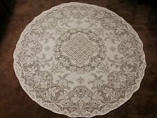 "Battenburg Lace Tablecloth Table Topper 67"" Round Ivory Cotton Floral Pattern"