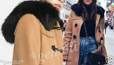 ZARA M / 38 WOLLMANTEL ANORAK PARKA WOOL DUFFLE COAT WITH FAUX FUR HOOD 7616/644