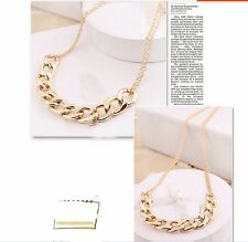 Ladies Womens Gold Double Chain Neckless Choker Trend New Luxury Birthday Gift