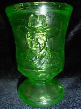 Green Vaseline glass toothpick match holder hop-along Cassidy uranium canary art