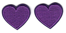 """SET OF 2 PURPLE HEARTS (1"""")- Iron On Embroidered Patch - Heart, Miniatures, Love"""