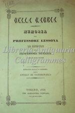 MEDICINA VETERINARIA: Lessona e Demaria, DELLA RABBIA 1838 Fontana Torino