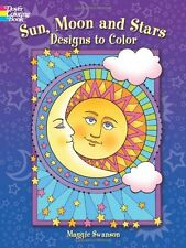 Sun Moon Stars Designs Coloring Book Children Kids Art Therapy Anti Stress Relax