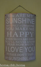 """YOU ARE MY SUNSHINE.."" METAL SIGN VINTAGE SHABBY CHIC WALL PLAQUE KITCHEN"