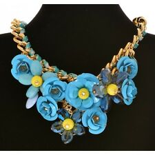 Chunky Large Flower Roses & Gem Charms Gold Statement Necklace - Blue