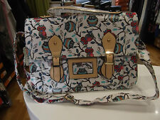 Fashion Only Satchel NWT White Owl Print Shoulder Bag Structured Oilcloth