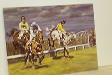 QUALITY GLOSSY BIRTHDAY  CARD & ENVELOPE ( Horse Racing = Over The Last
