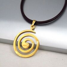 Gold Round Swirls Spiral Pendant 3mm Black Leather Cord Tribal Necklace NEW